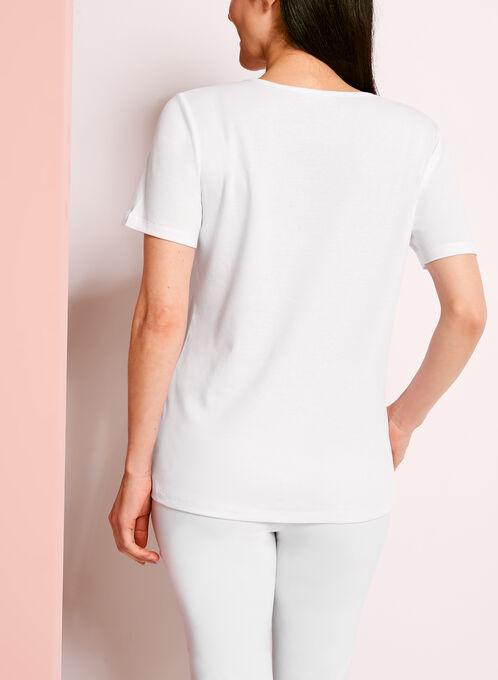 Embellished Lace Trim Printed T-Shirt, White, hi-res