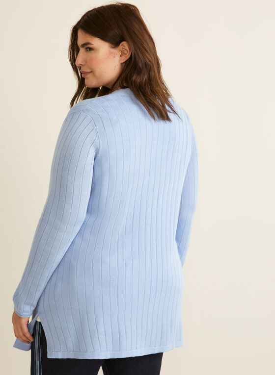 Open Cardigan With Patch Pockets, Blue