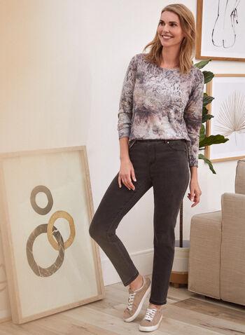 Burnout Floral Print Top, Pink,  fall 2021, shirt, top, blouse, knit, comfy, long sleeves, scoop neckline, rounded hem, stud details, burnout, print, fabric, design, floral, flowers, stretch