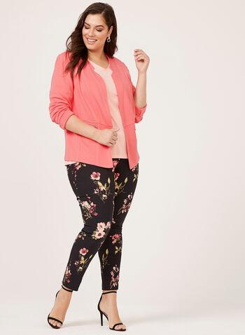 Floral Print Slim Leg Pants, Black, hi-res