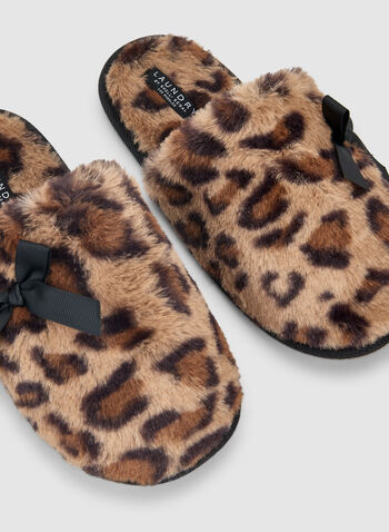 Leopard Print Slippers, Brown,  sleepwear, slippers, leopard print, fall 2019, winter 2019