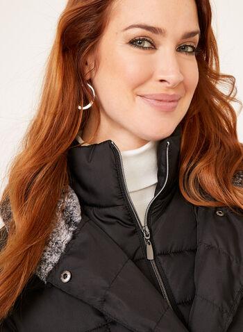 Hooded Faux Down Coat, Black, hi-res