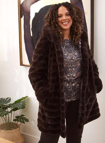 Nuage - Manteau réversible en fausse fourrure, Brun,  manteau, extérieur, nuage, capuchon intégré, manches longues, poches, boutons, réversible, fausse fourrure, résistant à l'eau, résistant au vent, motif léopard, animal, automne hiver 2021