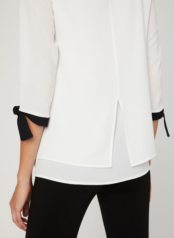 ¾ Sleeve Double Layer Blouse, Off White, hi-res