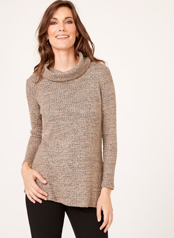 Cowl Neck Sweater Tunic, Brown, hi-res