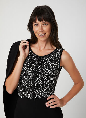Leaf Print Sleeveless Top, Black, hi-res,  sleeveless, leaf motif, scoop neck, contrasting piping, fall 2019, winter 2019
