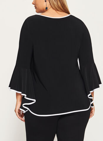 Frank Lyman - Ruffled Bell Sleeve Tunic Top, Black, hi-res