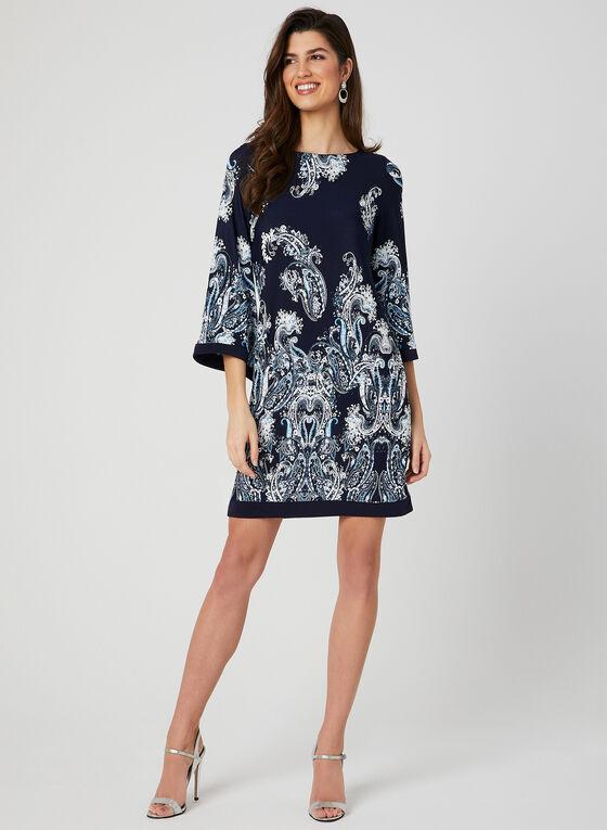 Paisley Print Angel Sleeve Dress, Blue, hi-res