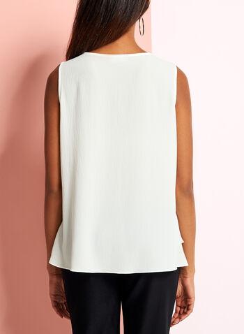 Sleeveless V-Neck Crepe Top, Off White, hi-res
