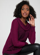 Cowl Neck Knit Sweater, Pink, hi-res
