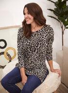 Tunique asymétrique à motif léopard, Noir