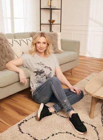 Embellished Pull-On Jeans, Blue,  jeans, slim leg, pull-on, embellished, frayed, pockets, ankle, spring summer 2021