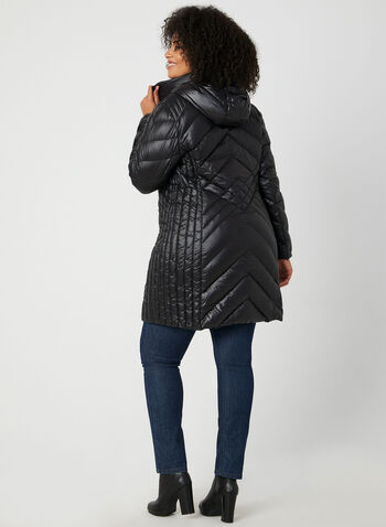 BCBGeneration - Packable Down Quilt Coat, Black,  coat, quilt coat, down coat, feather, packable coat, zippers, hood, winter 2019, fall 2019