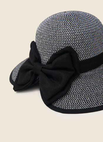Bow Detail Straw Hat, Black,  hat, straw, bow, spring summer 2020