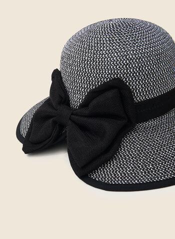 Chapeau cloche en paille à gros nœud, Noir,  chapeau, cloche, paille, noeud, printemps été 2020