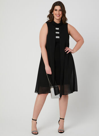Joseph Ribkoff - Sleeveless Scuba Dress, Black, hi-res