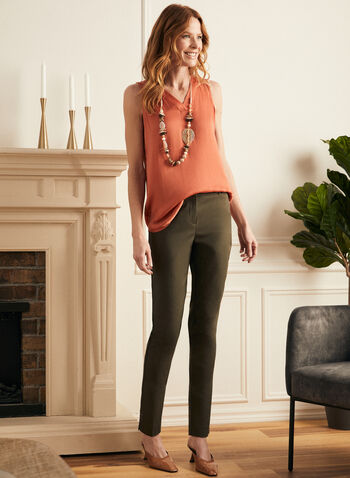 Sleeveless V-Neck Blouse, Orange,  blouse, sleeveless, v-neck, high low, spring summer 2021