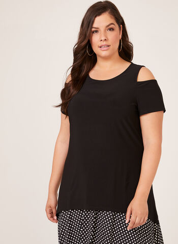 Cold Shoulder Jersey Tunic, Black, hi-res