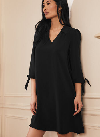 Shirt Collar Knot Detail Dress, Black,  dress, day, v neck, shirt collar, 3/4 sleeves, knot, tie, spring summer 2021