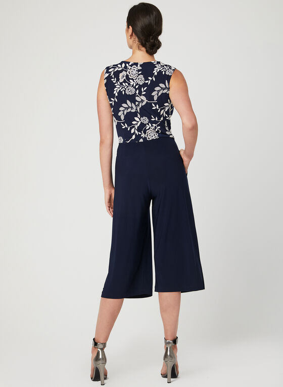 Nina Leonard - Faux Wrap Wide Leg Jumpsuit, Blue, hi-res