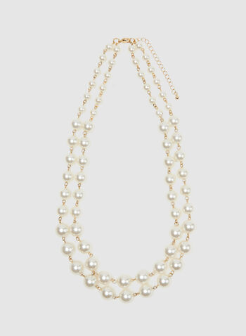 Layered Pearl Necklace, Off White, hi-res