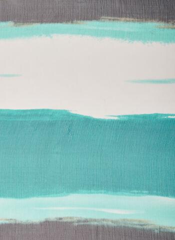 Foulard oblong motif coups de pinceau, Bleu,  foulard, léger, oblong, coup de pinceau, printemps été 2020