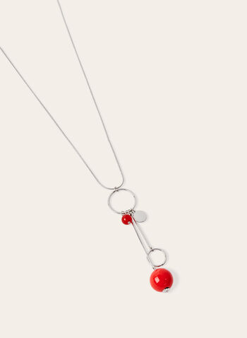 Hoop & Bead Pendant Necklace, Red, hi-res