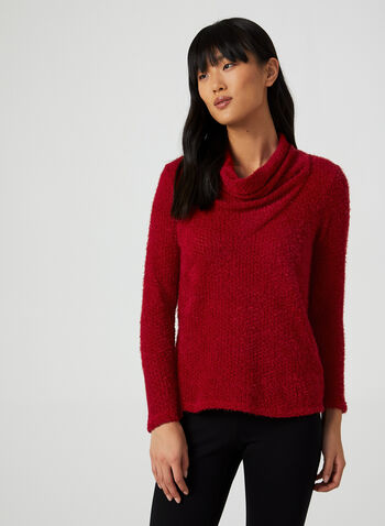 Chenille Knit Sweater, Red,  canada, chenille sweater, sweater, knit, cowl neck sweater, fall 2019, winter 2019
