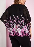 Floral Print Cold Shoulder Poncho Top, Black, hi-res