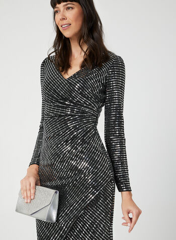 Metallic Faux Wrap Dress, Silver,  dress, cocktail dress, metallic, sequins, long sleeves, faux wrap, fall 2019, winter 2019