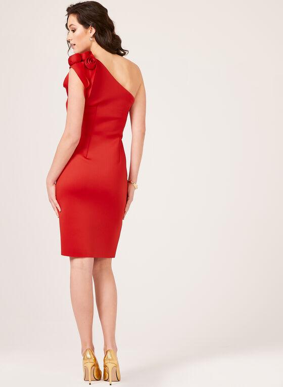 Robe à épaule dénudée en néoprène, Rouge, hi-res