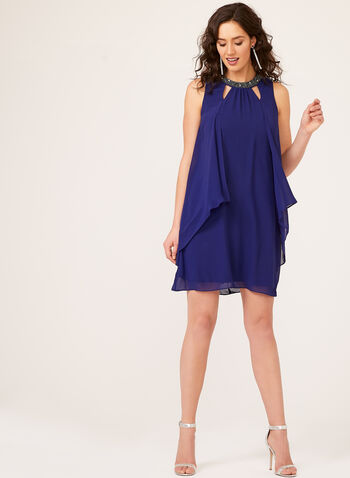 Beaded Choker Collar Capelet Back Halter Chiffon Dress, Blue, hi-res