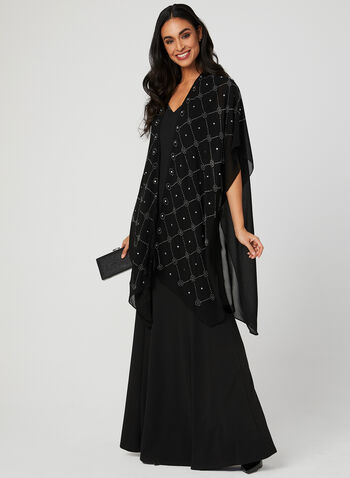 Embellished Open Front Poncho, Black, hi-res