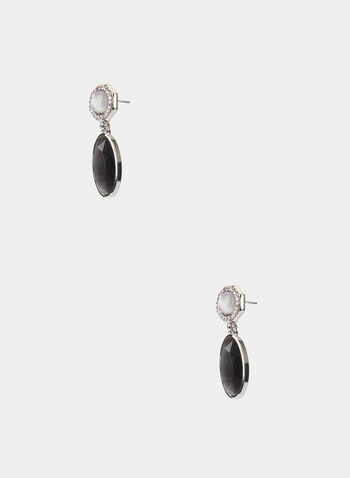 Oval Dangle Earrings, Grey, hi-res,  earrings, dangle earrings, two-tier, cat eye, rhinestone, oval, fall 2019, winter 2019
