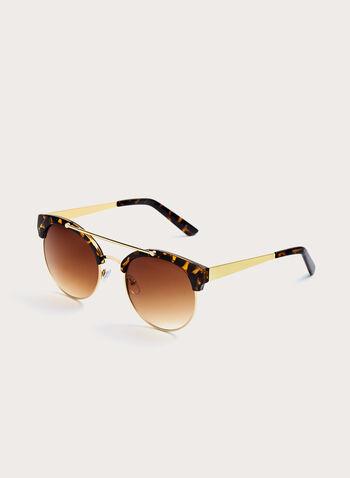 Cateye Tort Detail Metal Sunglasses, Brown, hi-res