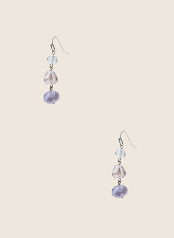 Faceted Stone Dangle Earrings, Purple,  earrings, stones, beads, faceted, triple, tiered, dangle, spring summer 2020