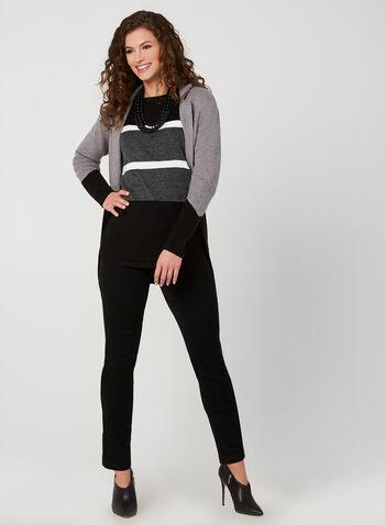 Printed Knit Sweater, Black,  fall winter 2019, knit, 3/4 sleeves, stripe print
