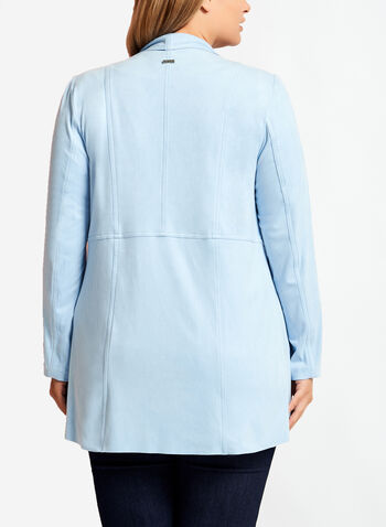 Faux Suede Cascade Front Jacket , , hi-res