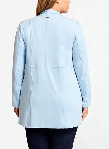 Veste en faux daim ouverte en cascade, Bleu, hi-res