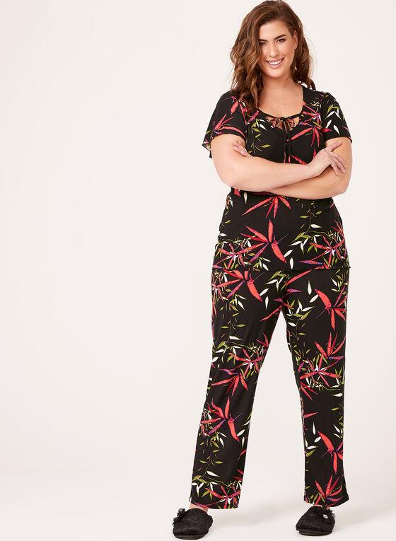 Bellina - Leaf Print Pajama Set , Black, hi-res