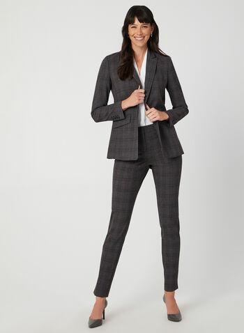 Veste à col cranté motif tartan, Gris, hi-res,  veste, tartan, manches longues, col cranté, épaulettes, automne hiver 2019