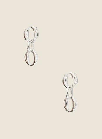 Dangle Hoop Earrings, Silver,  fall winter 2020, earrings, hoops, interlocked, silver, metallic, gift, holiday 2020, holiday