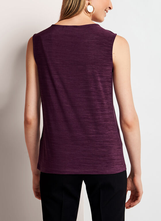 Ruched Scoop Neck Top, Purple, hi-res