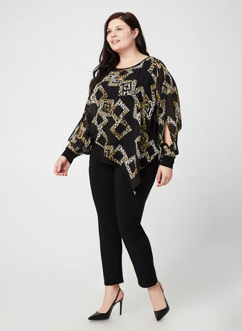 Joseph Ribkoff - Printed Poncho Blouse, Black,  fall winter 2019, blouse, chiffon poncho, long sleeves, animal print
