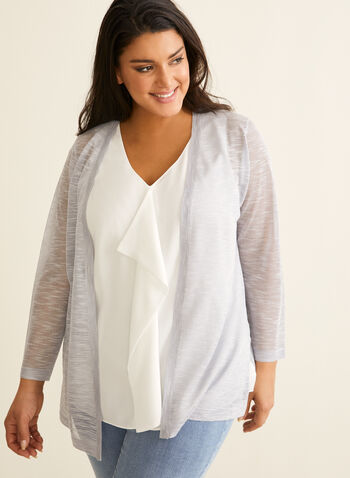 Linen Blend Open Front Cardigan, Silver,  cardigan, open front, linen, blend, knit, 3/4 sleeves, stretchy, spring summer 2020
