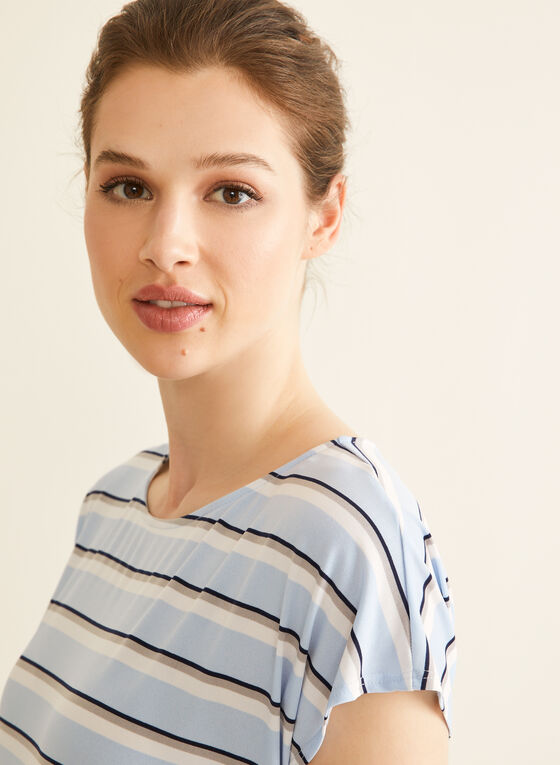 Chambray Stripe Print Top, Blue