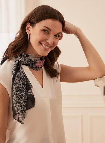 Floral Print Lightweight Scarf, Black,  scarf, lightweight, floral, spring summer 2021