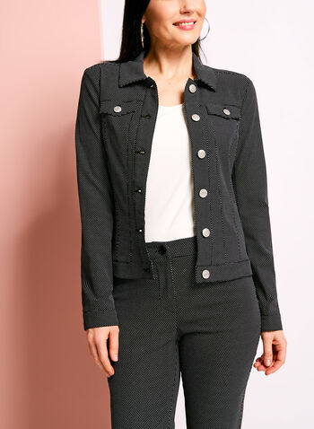 Dot Print Notch Collar Jacket, , hi-res