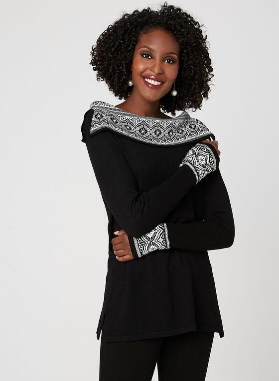 Pull en tricot avec fausses perles , Noir, hi-res