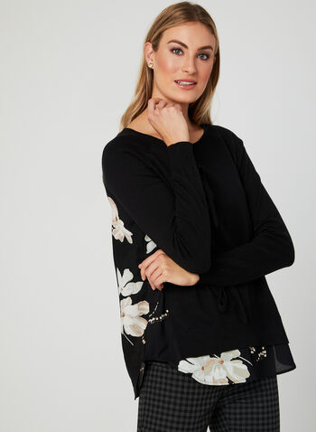 Floral Print Fooler Sweater, Grey, hi-res